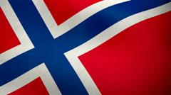 Norwegian flag waving background loop Stock Footage