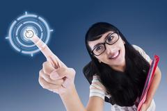 attractive college student touching virtual screen - stock illustration