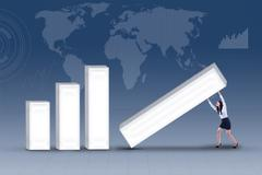 Businesswoman try to keep business statistic Stock Illustration