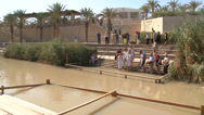 Stock Video Footage of A modern baptism site for Christians along the Jordan River in Israel.