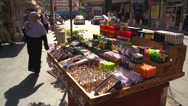 Stock Video Footage of Man goods are for sale from a street cart in Amman, Jordan.