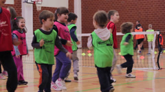 Children doing free exercises in sports hall,sports recreation Stock Footage