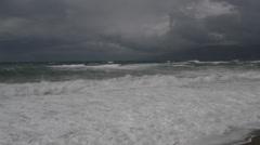 Storm sea breakers waves dark clouds Stock Footage