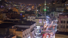 High angle night time lapse of downtown Amman, Jordan. - stock footage