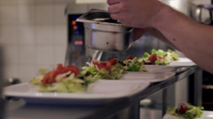 Salad preparing Stock Footage