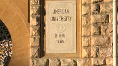 A sign identifies the American University of Beirut in lebanon. Stock Footage