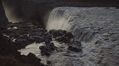 Top border of Dettifoss waterfall / slow motion / Iceland Stock Footage