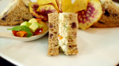 Sandwich made with wholegrain bread Stock Footage