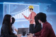 Stock Illustration of business contractor success presentation on blue digital