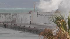 Storm harbour massive wave sea kay bulkhead Stock Footage