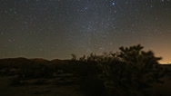 Stock Video Footage of Desert stars timelapse night sky stars and meteors at Joshua Tree