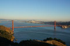 Golden Gate Bridge and Alcatraz Stock Photos