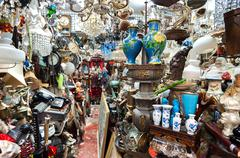 Cluttered junk shop at Upper Lascar Row antique market, Hong Kong Stock Photos