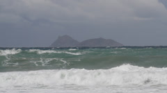 Storm rough sea clouds waves island Stock Footage