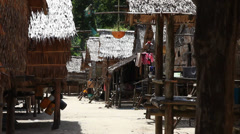 Native sea gypsy village alley, Surin Islands - stock footage