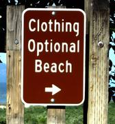 Nude Beach Sign - stock photo