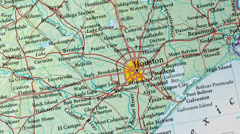 Houston - USA Map Zoom Stock Footage