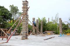 Building cement pillar in construct site Stock Photos