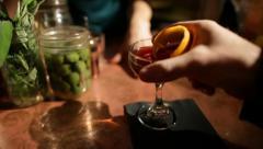 Bartender serving Drink - Slow motion - POV Stock Footage