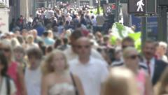Pedestrian crowd on New York City street - blurred faces - stock footage