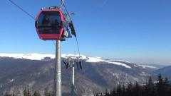 People in Alps Ski Lift, Alpine Cable Car, Winter Sports, Tourists Skiing Stock Footage