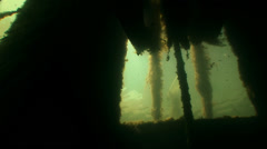Underwater excavator sun penetrates through parts of iron overgrown in algae. Stock Footage