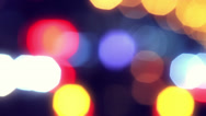 Stock Video Footage of Defocused night traffic lights and flares