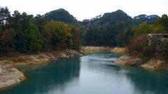 Forest over island & dark-green lake,china Kuril lake,jiangsu province. Stock Footage