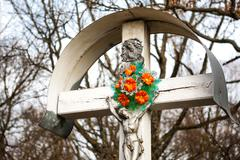 crucifix with forest background - stock photo