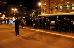 Police and gendarmerie in action Stock Photos