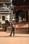 Nepali policeman in Kathmandu - stock photo