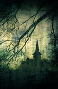 Vintage image of Dracula castle from Transylvania, Romania Stock Photos