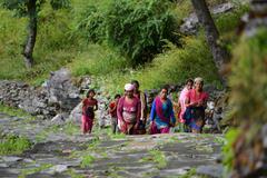 Nepalese Gurung women in the Himalayas - stock photo