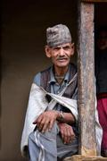 Portrait of an old Gurung Sherpa in the Himalayas, Nepal - stock photo