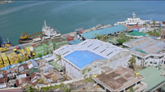 Aerial of Tacloban harbour after Haiyan Stock Footage