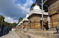Stock Photo of row of sacred hindu temples in pashupatinath, nepal