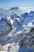 snowy mountain landscape in the dolomites, italy - stock photo