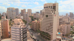 Wide angle of a business district in Beirut, Lebanon. Stock Footage