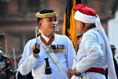 nepali musicians - stock photo