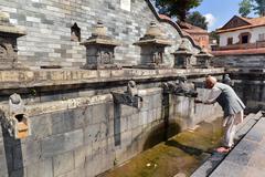 public fountain in pashupatinath, nepal - stock photo