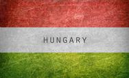 Stock Illustration of Hungary flag on a grunge postcard