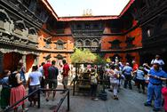 Stock Photo of the inner courtyard of the living goddess kumari in kathmandu, nepal