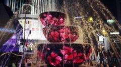 Pavilion Fountain, Tilt, Night Stock Footage