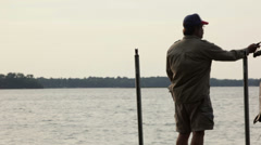 Mid-aged man fishing  Stock Footage