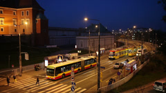 Warsaw Street Traffic at Night Stock Footage