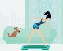 women doing exercise on aerobic step - stock illustration