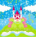 Stock Illustration of magic world of tales, fairy castle appearing from the book