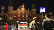 Stock Video Footage of Central Train Station and Metro in Amsterdam at Night