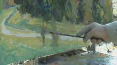 Close up of painting art Stock Footage