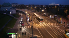Night City Traffic in Warsaw Stock Footage